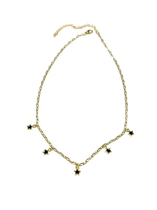 Black Enamel Star Charm Necklace | Gold Plated Chain | Light Years
