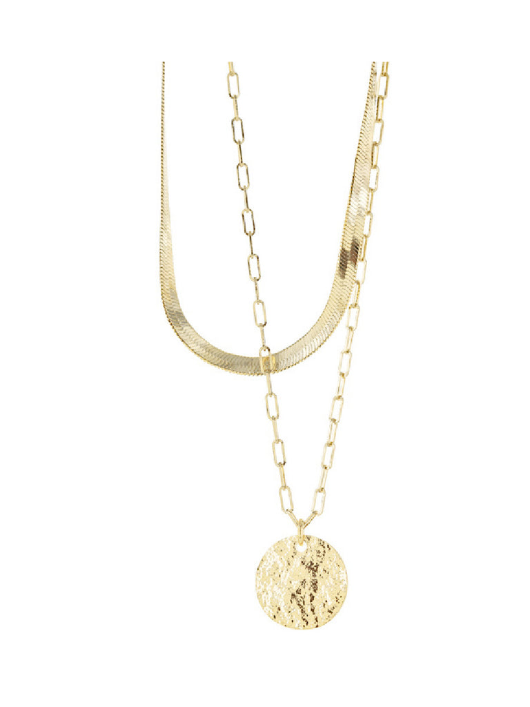 Medallion Layered Herringbone Necklace | Gold Plated Chain Pendant | Light Years