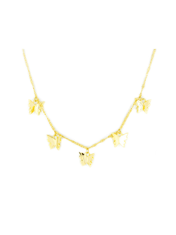Butterfly Charm Necklace | Gold Plated Chain | Light Years Jewelry