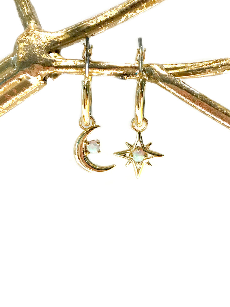 Opal Moon & Star Charm Hoops | Gold Plated Earrings | Light Years