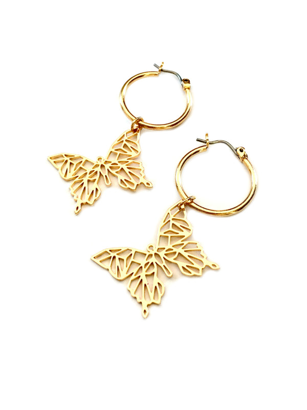 Butterfly Dangle Hoops | Gold Plated Earrings | Light Years Jewelry