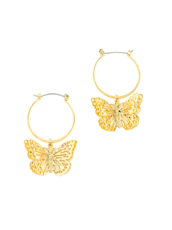 3D Butterfly Hoops | Gold Plated Fashion Earrings | Light Years Jewelry
