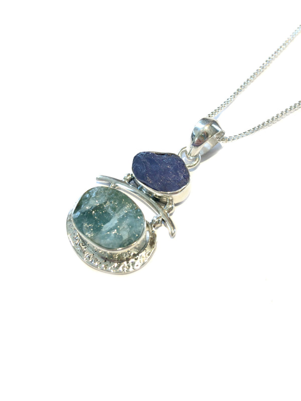 Aquamarine & Tanzanite Pendant Necklace | Sterling Silver | Light Years