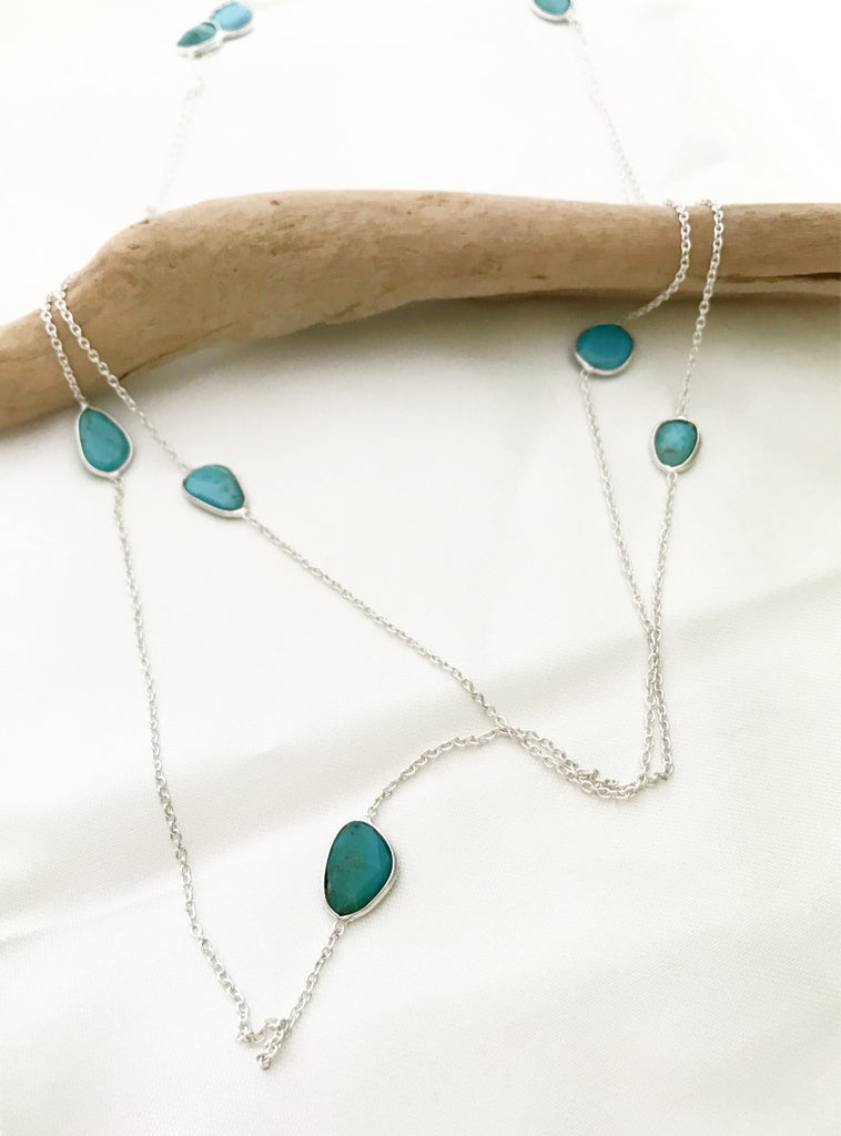Long Spaced Out Turquoise Necklace | Sterling Silver Chain | Light Years