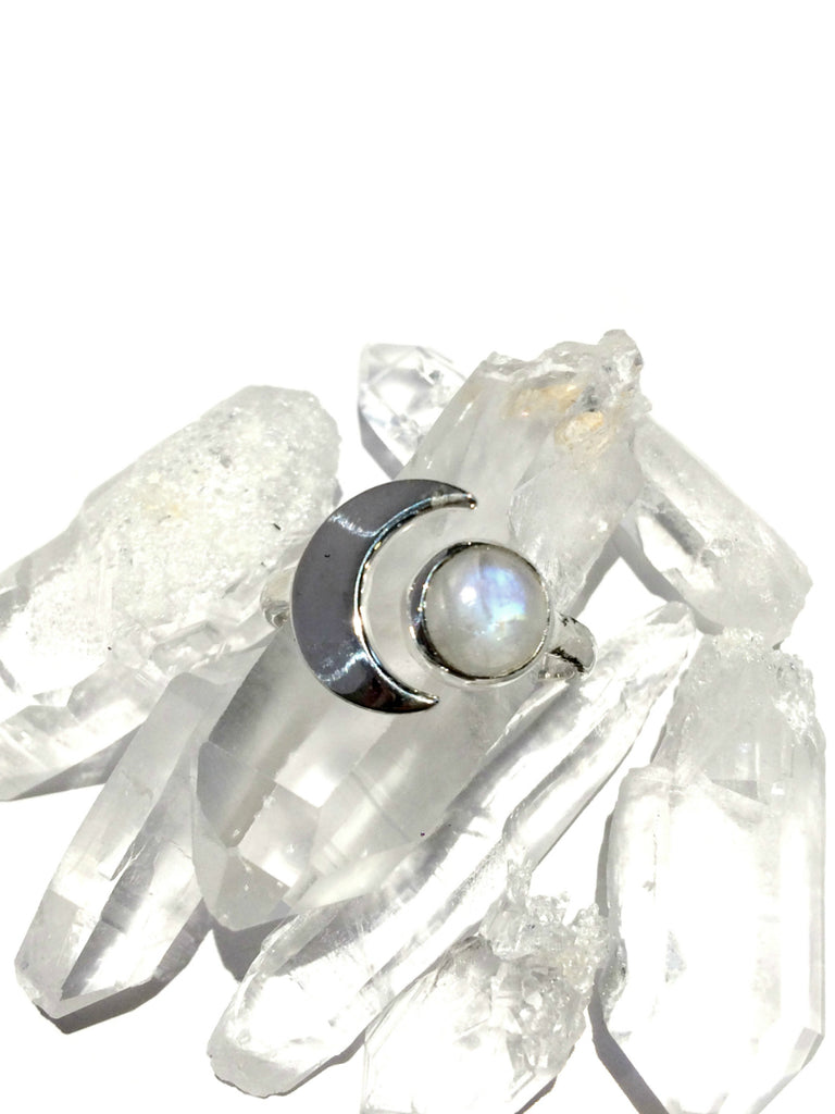 Crescent Moonstone Ring | Sterling Silver Size 7 8 9 10 | Light Years