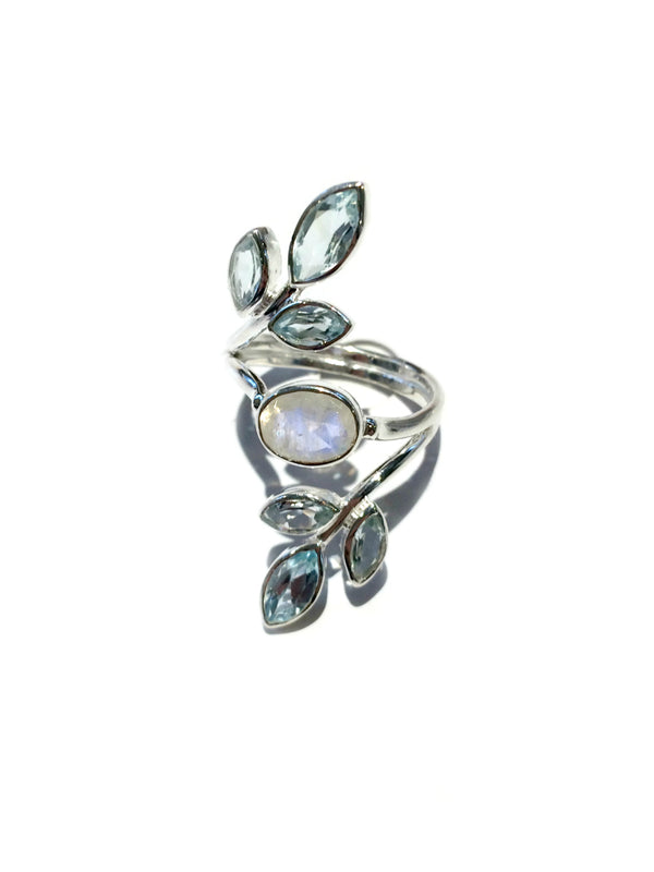 Moonstone & Blue Topaz Vine Ring | Sterling Silver 7 8 | Light Years
