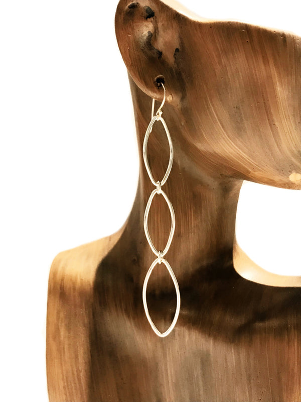 Long Marquis Statement Dangles | Sterling Silver Earrings | Light Years