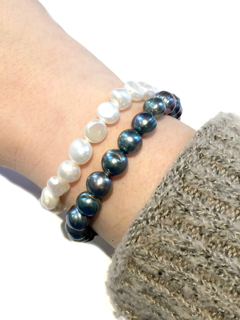 Freshwater Pearl Stretch Bracelets | Peacock White | Light Years Jewelry