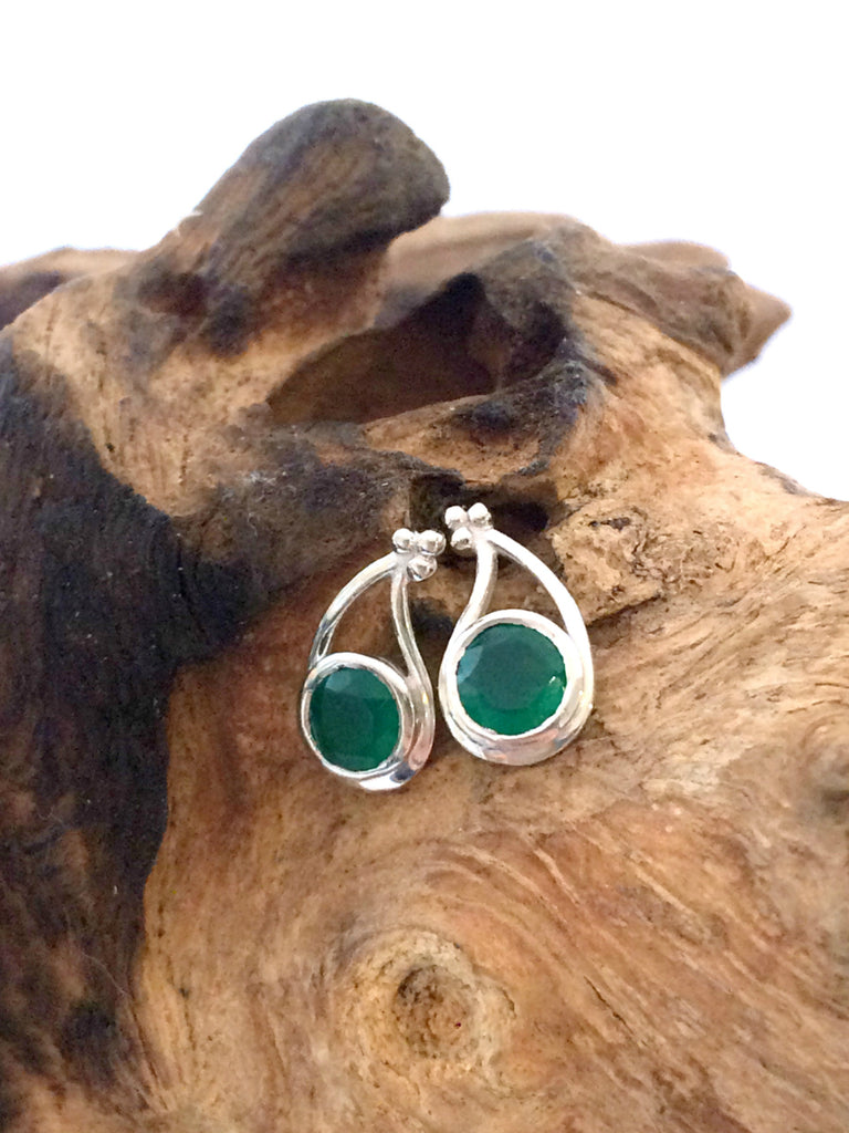 Emerald Green Onyx Posts | Sterling Silver Studs Earrings | Light Years
