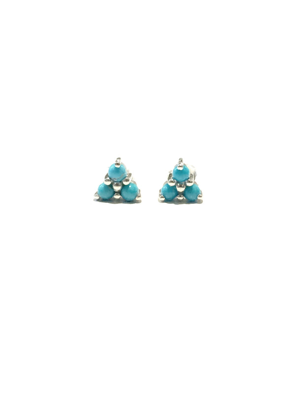 Triple Gemstone Posts | Turquoise | Sterling Silver Studs Earrings | Light Years