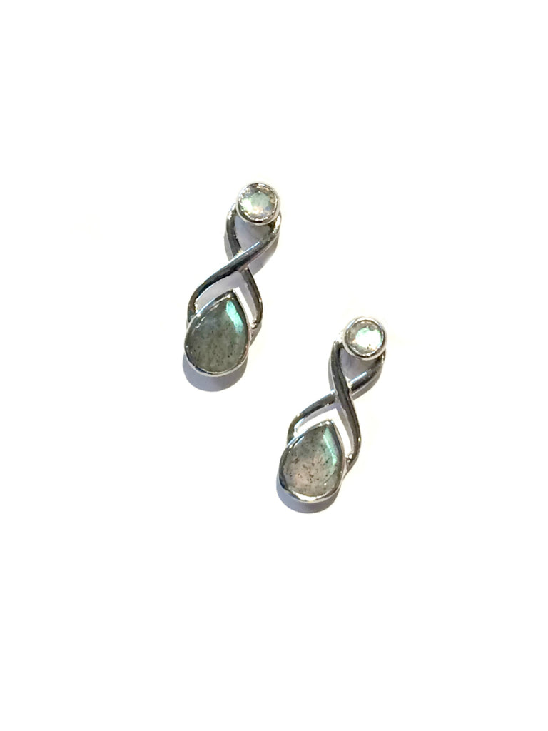 Twisted Labradorite Posts | Sterling Silver Studs Earrings | Light Years
