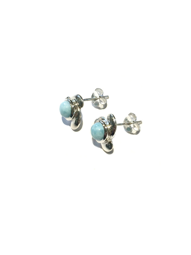 Stylized Larimar Posts | Sterling Silver Studs Earrings | Light Years