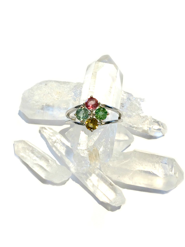 Faceted Tourmaline Ring | Sterling Silver Size 5 6 7 8 | Light Years