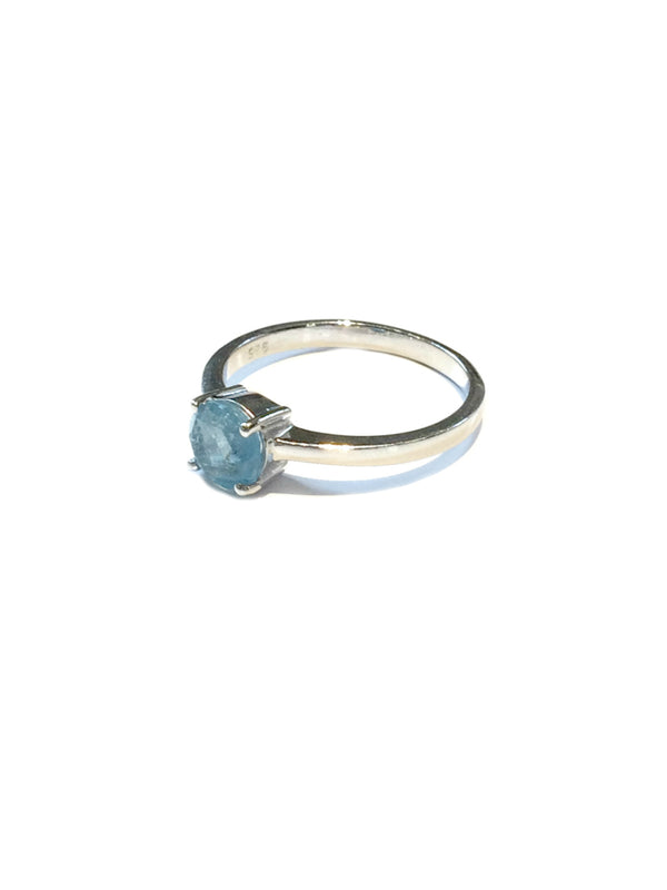 Faceted Aquamarine Ring | Sterling Silver Size 5 6 7 8 9 | Light Years
