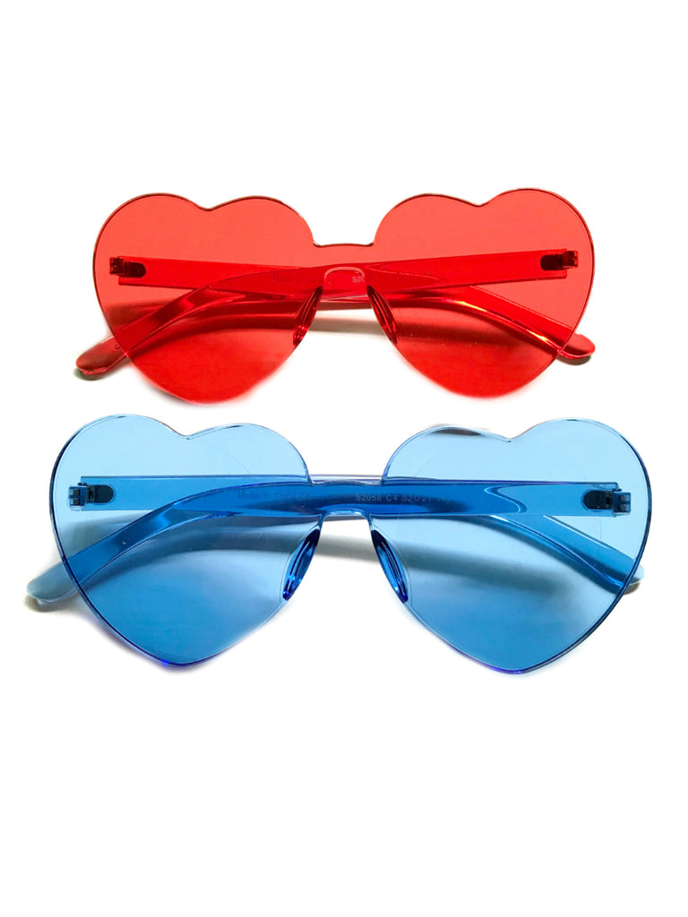 Heart Shaped Sunglasses | Red Blue Trendy Acrylic Lens | Light Years