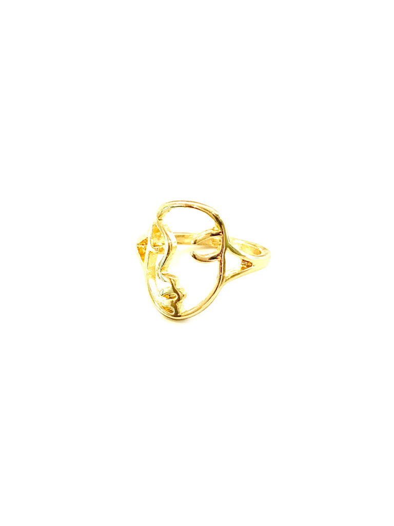 Face Outline Ring | Gold Plated Trendy Fashion 6 7 8 | Light Years