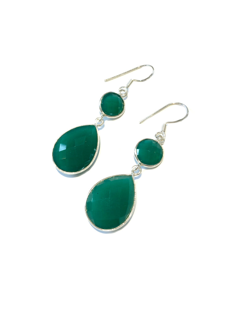 Faceted Green Onyx Dangles | Sterling Silver Earrings | Light Years