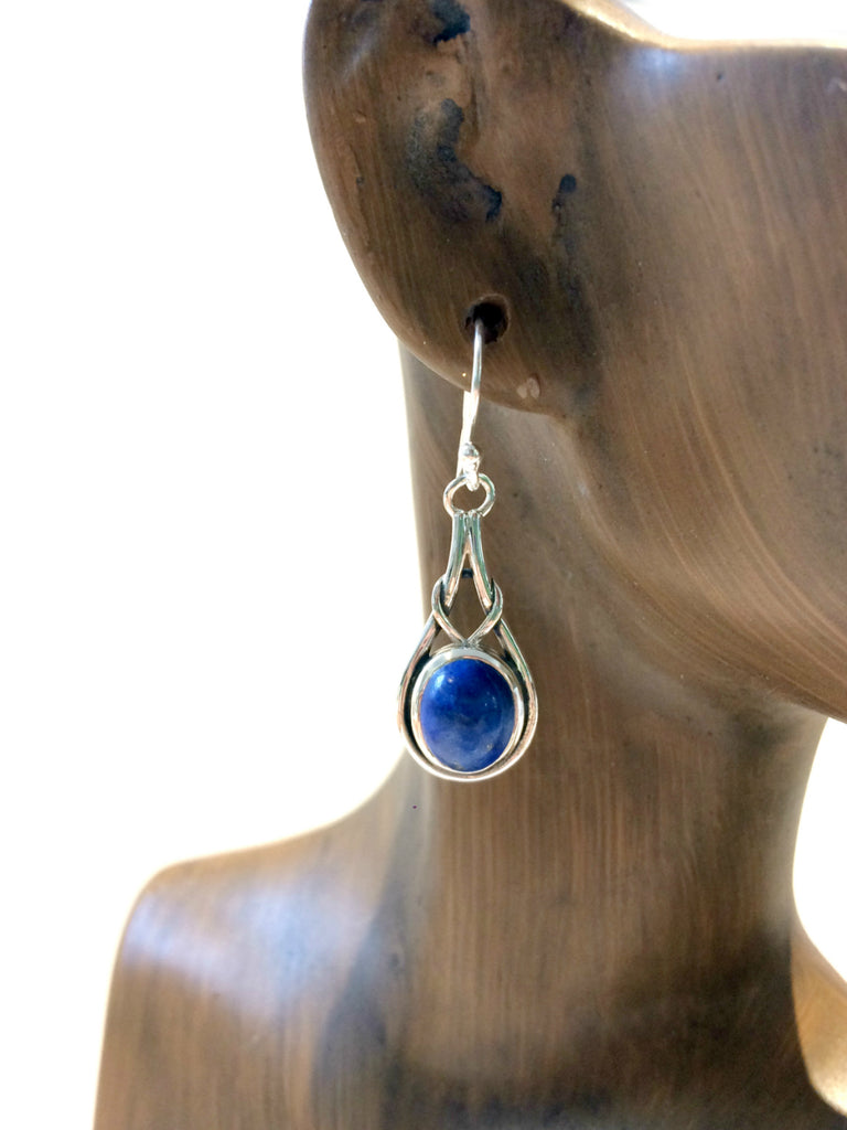 Knotted Lapis Dangles | Sterling Silver Earrings | Light Years Jewelry