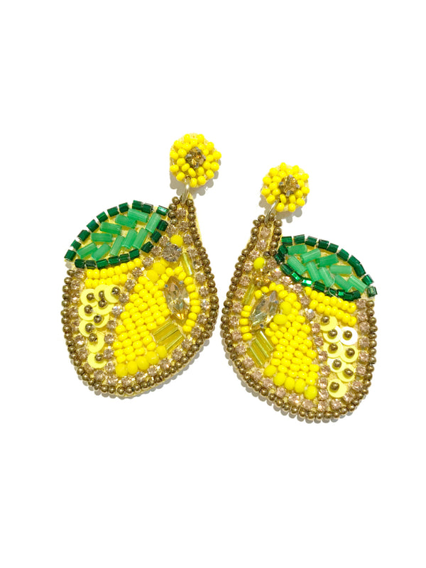 Beaded Lemon Statement Earrings | Fashion Studs Posts | Light Years