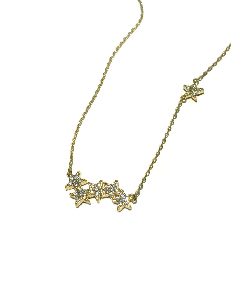 CZ Star Cluster Necklace | Gold Plated Chain | Light Years Jewelry