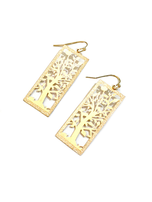 Flowering Tree Dangles | Gold Fashion Earrings | Light Years Jewelry