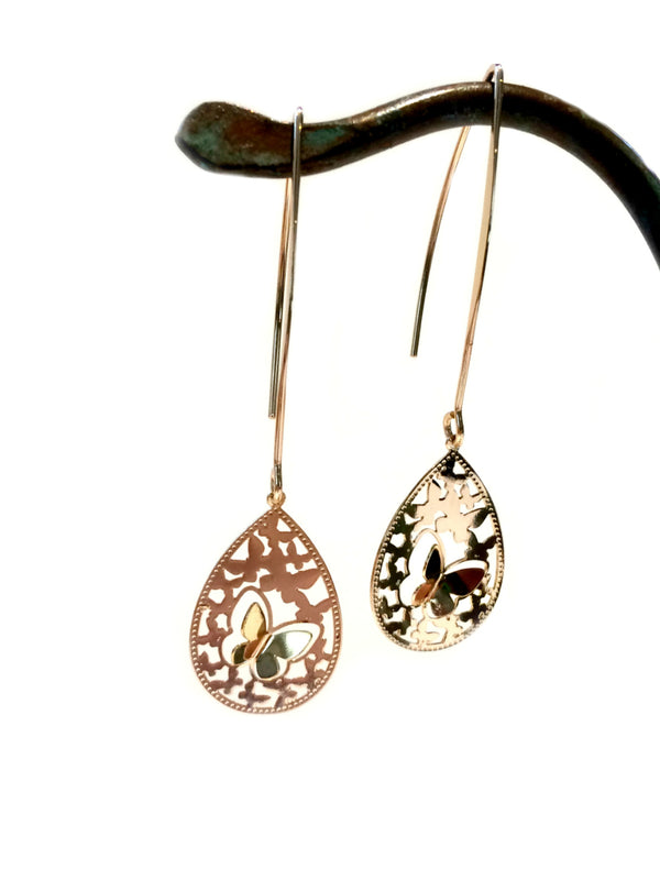 Golden Butterfly Drop Dangles