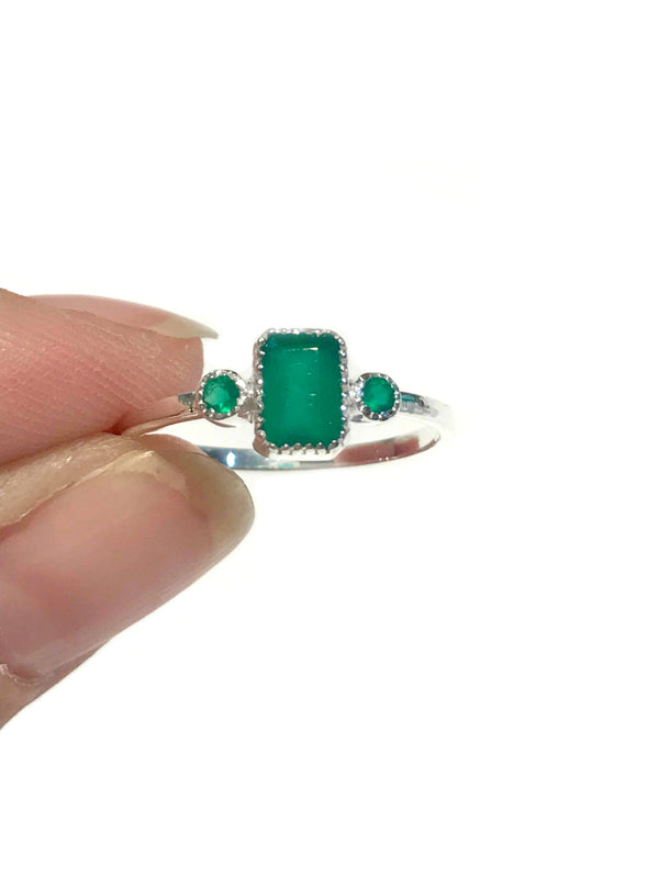 Elegant Green Onyx Ring | Sterling Silver Size 6 7 8 9 | Light Years