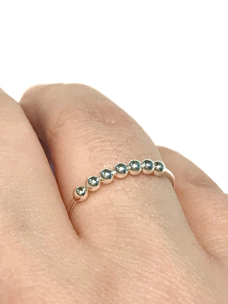 Ball Bead Band Ring | Sterling Silver Size 6 7 8 9 | Light Years Jewelry