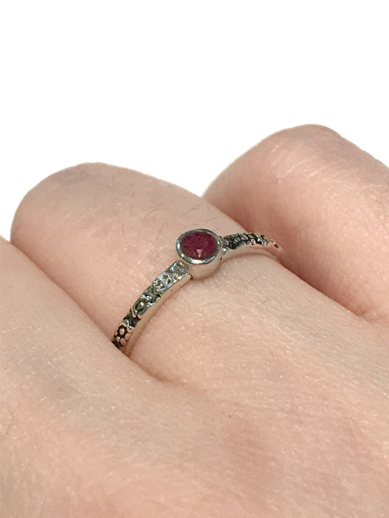 Natural Ruby Dot Band | Sterling Silver Band Size 6 7 8 | Light Years