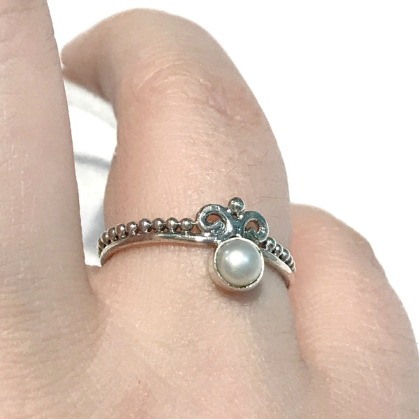 Pearl Crown Ring | Sterling Silver Size 6 7 8 9 | Light Years Jewelry