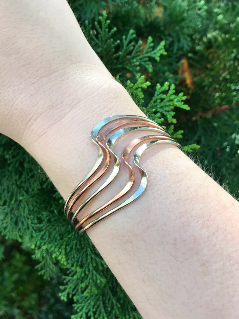 Multimetal Cuff Bracelets | Copper Silver Gold Twist Wave | Light Years