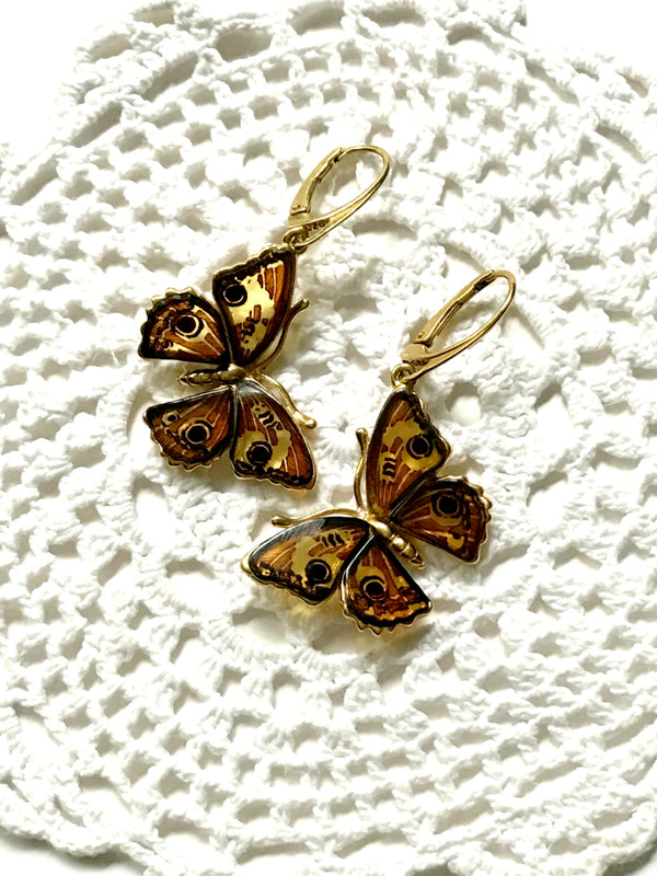 Carved Amber Butterfly Earrings | Gold Vermeil Dangles | Light Years