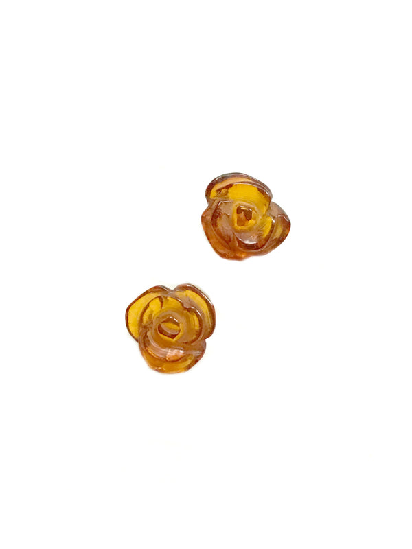 Carved Amber Rose Posts | Sterling Silver Studs Earrings | Light Years