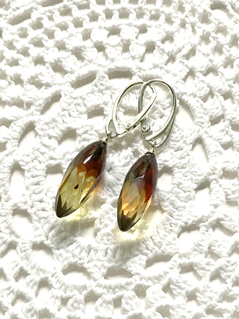 Baltic Flame Amber Dangles | Sterling Silver Earrings | Light Years