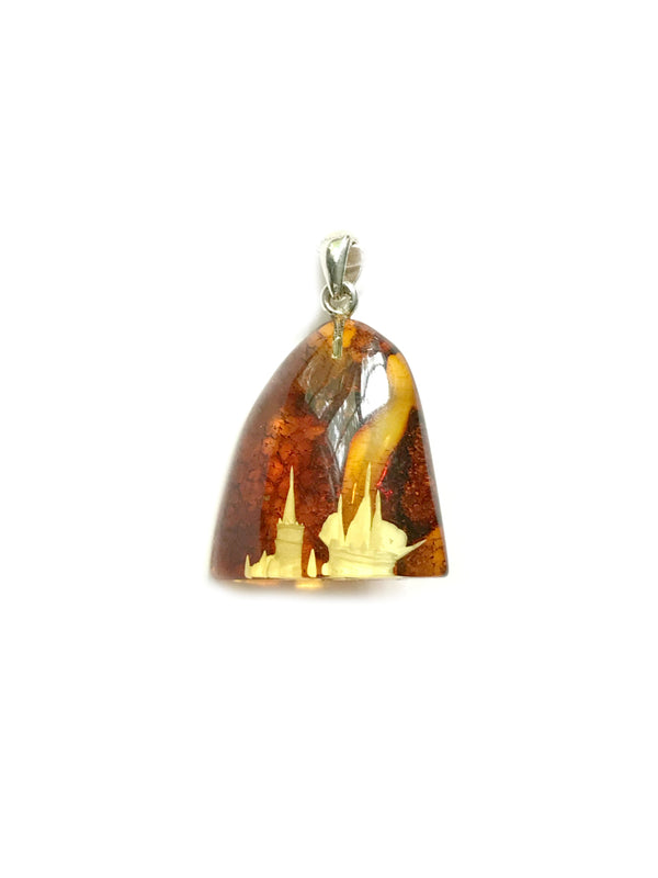 Carved Amber Harbor Necklace | Sterling Silver Chain | Light Years