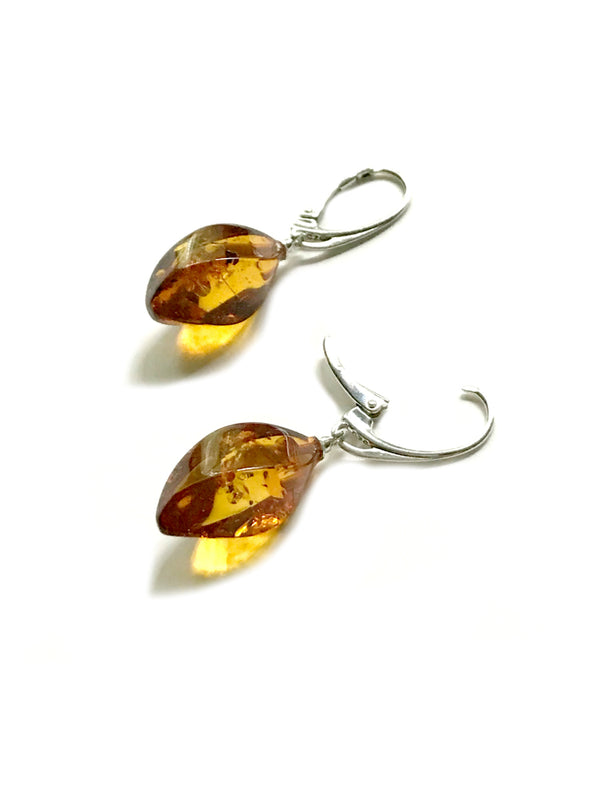 Baltic Amber Twist Dangles | Sterling Silver Earrings | Light Years
