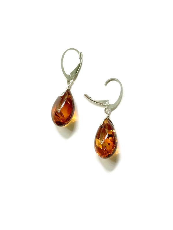 Baltic Amber Teardrop Dangles | Sterling Silver Earrings | Light Years
