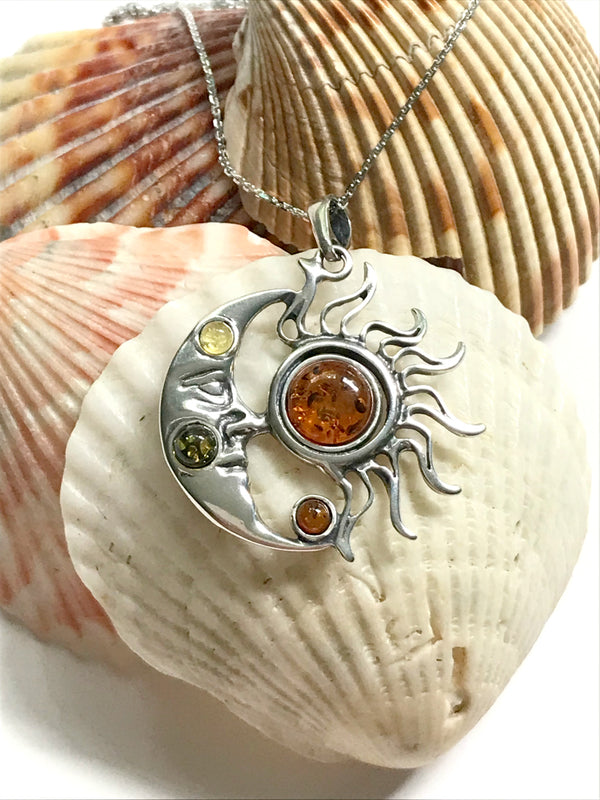 Celestial Sun Moon Amber Necklace | Sterling Silver Pendant Chain | Light Years