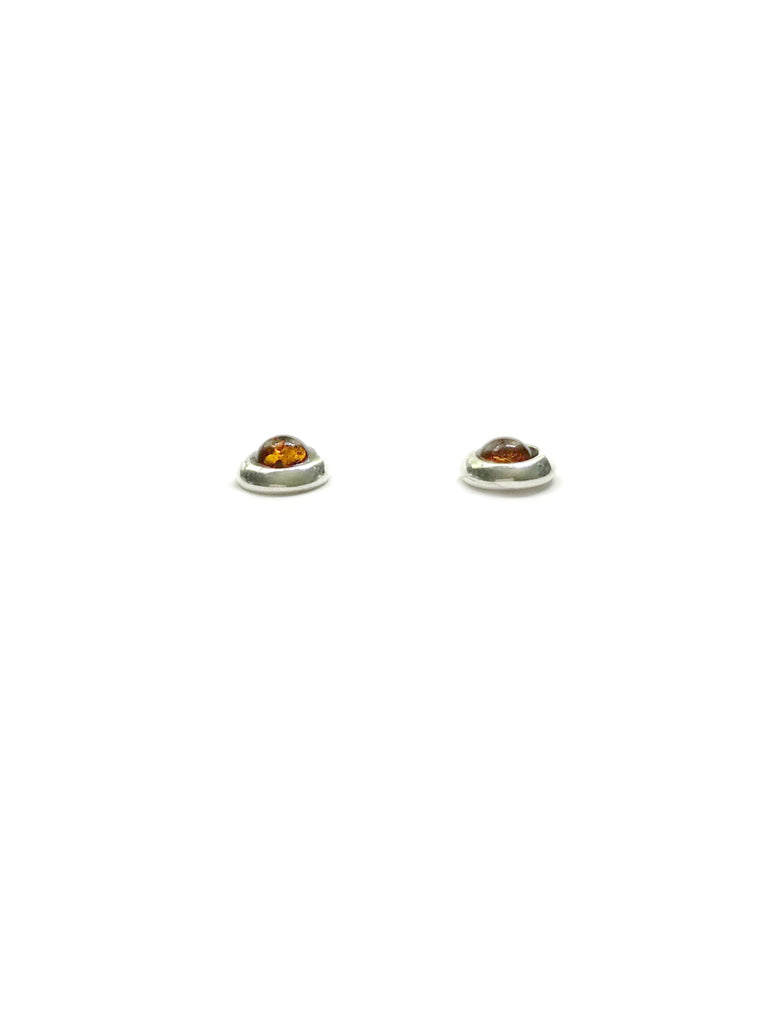 Round Baltic Amber Posts | Sterling Silver Studs Earrings | Light Years