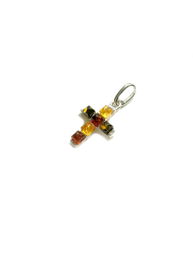 Multicolor Amber Cross Necklace | Sterling Silver Chain | Light Years
