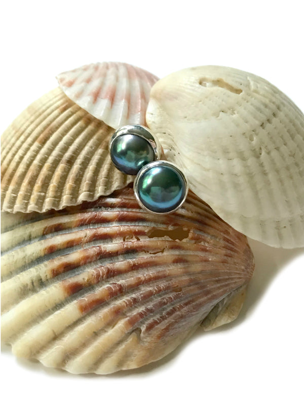 Peacock Pearl Posts | Sterling Silver Studs Earrings Bali | Light Years