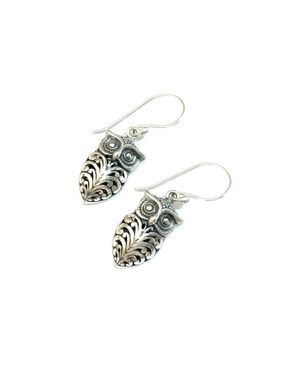 Bali Style Owl Dangles | Sterling Silver Earrings | Light Years Jewelry