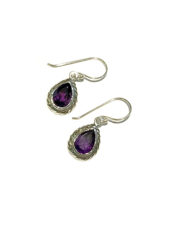 Twisted Teardrop Dangles | Amethyst Bali Sterling Silver Earrings | Light Years
