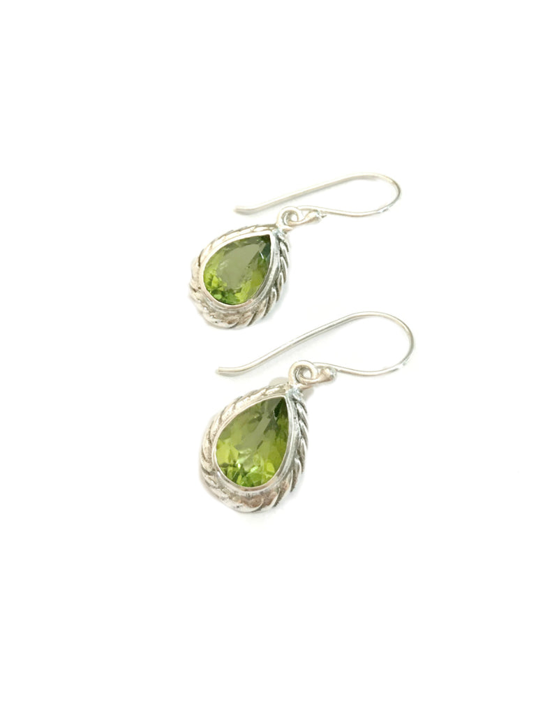 Twisted Teardrop Dangles | Peridot Bali Sterling Silver Earrings | Light Years