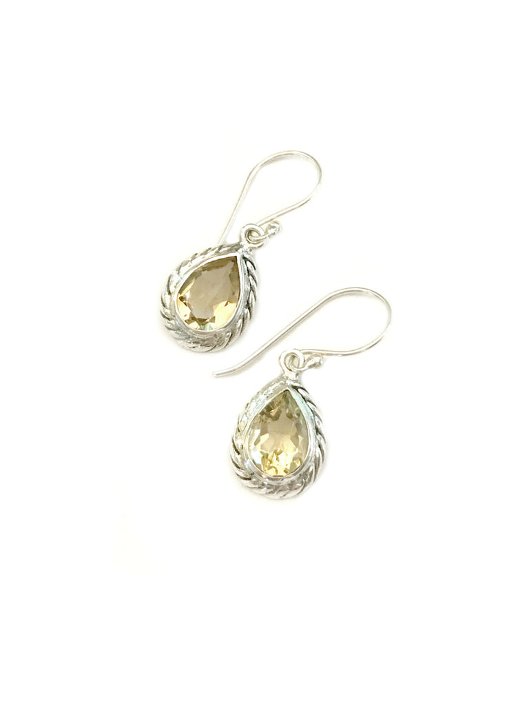 Twisted Teardrop Dangles | Citrine Bali Sterling Silver Earrings | Light Years