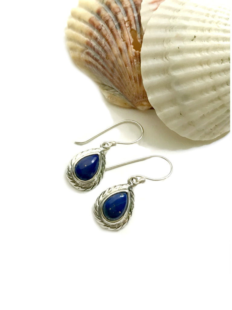 Twisted Teardrop Dangles | Lapis Bali Sterling Silver Earrings | Light Years