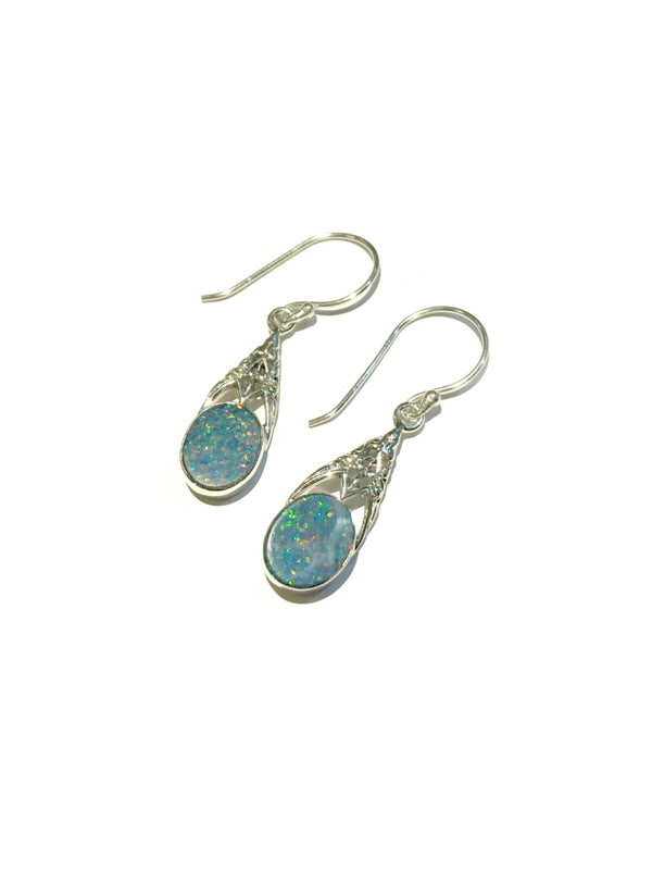 Filigree Gemstone Dangles | Opal Sterling Silver Earrings | Light Years