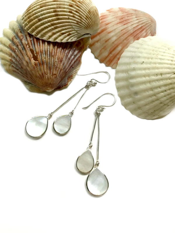 Double Drop Statement Earrings | Mother of Pearl | Sterling Silver Dangles | Light Years