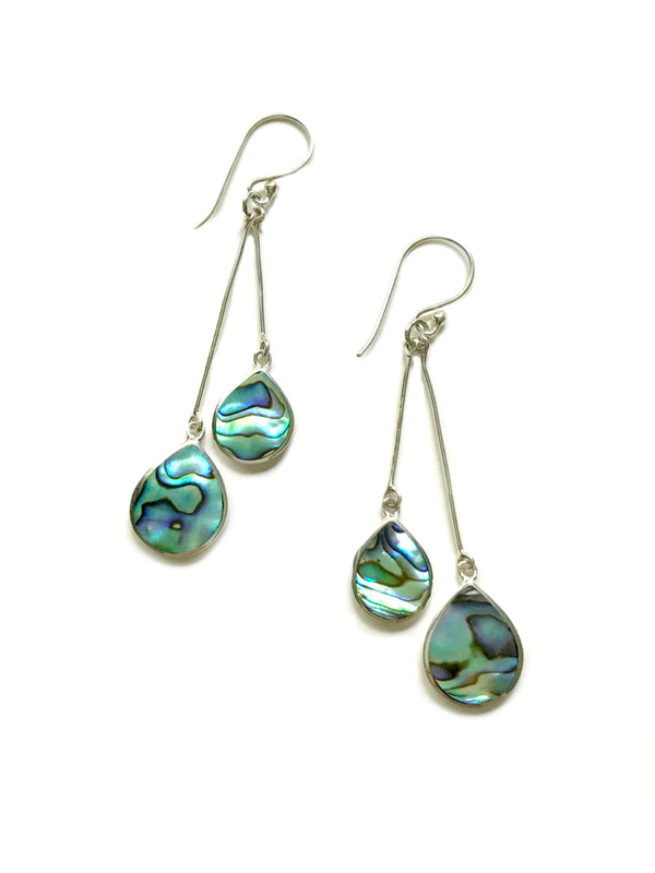 Double Drop Statement Earrings | Abalone | Sterling Silver Dangles | Light Years