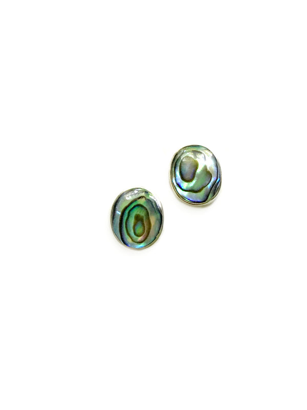 Large Oval Shell Posts | Abalone | Sterling Silver Stud Earrings | Light Years